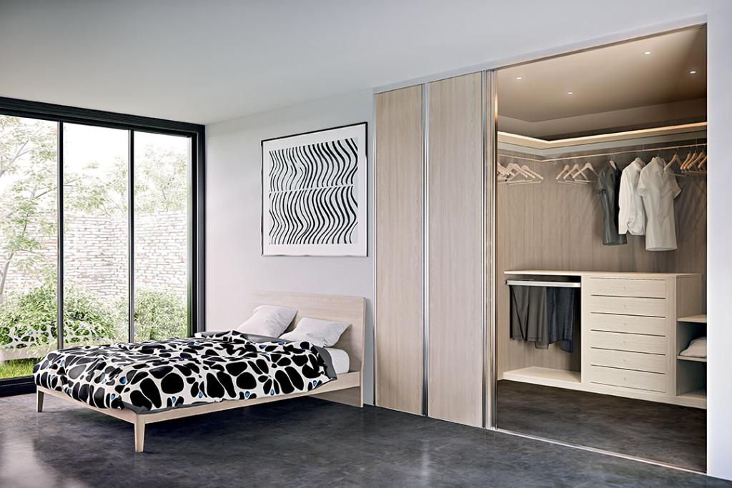 cabina armadio angolare con porte scorrevoli