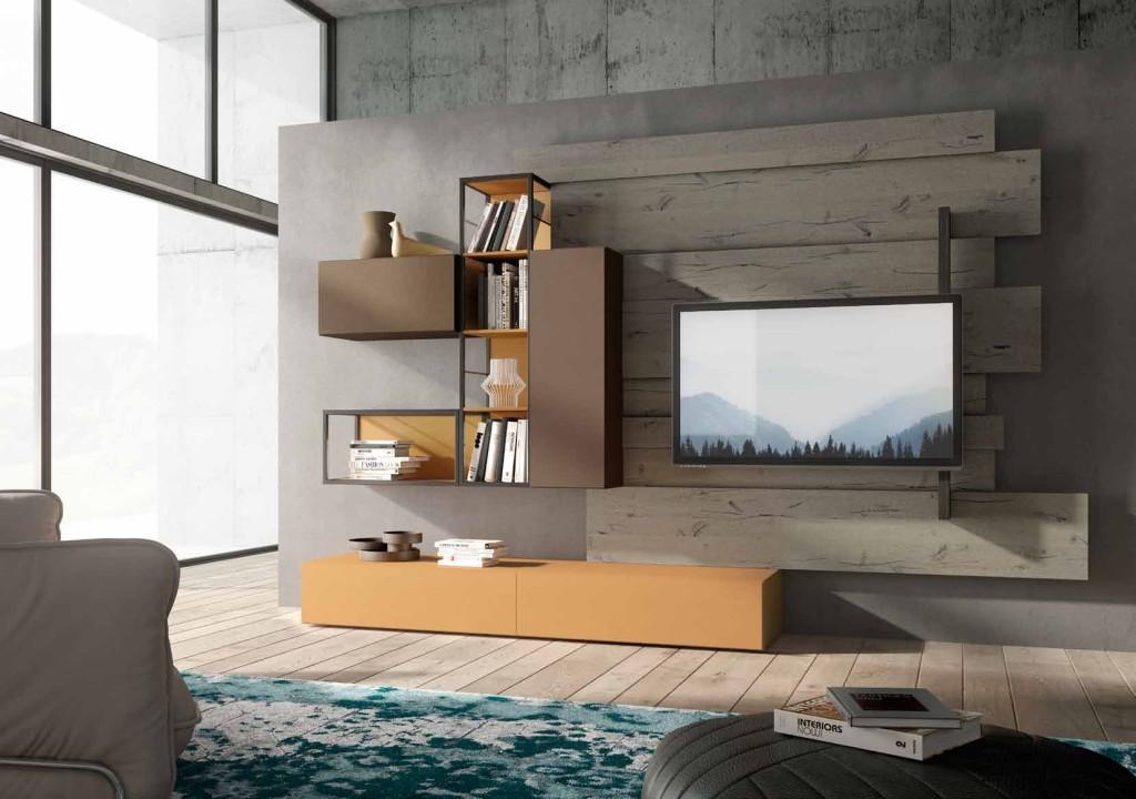 Soggiorno rebel fimar mobili finitura quercia e laccato blu for Mobel industrial style