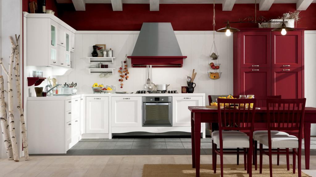 Cucina rossa e bianco