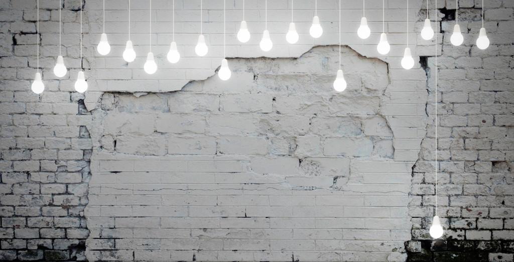 Carta da parati effetto muro mattoni bianchi
