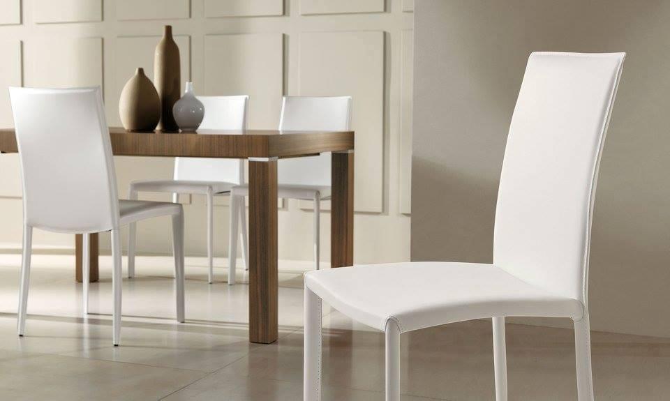 sedia cuoio bianco