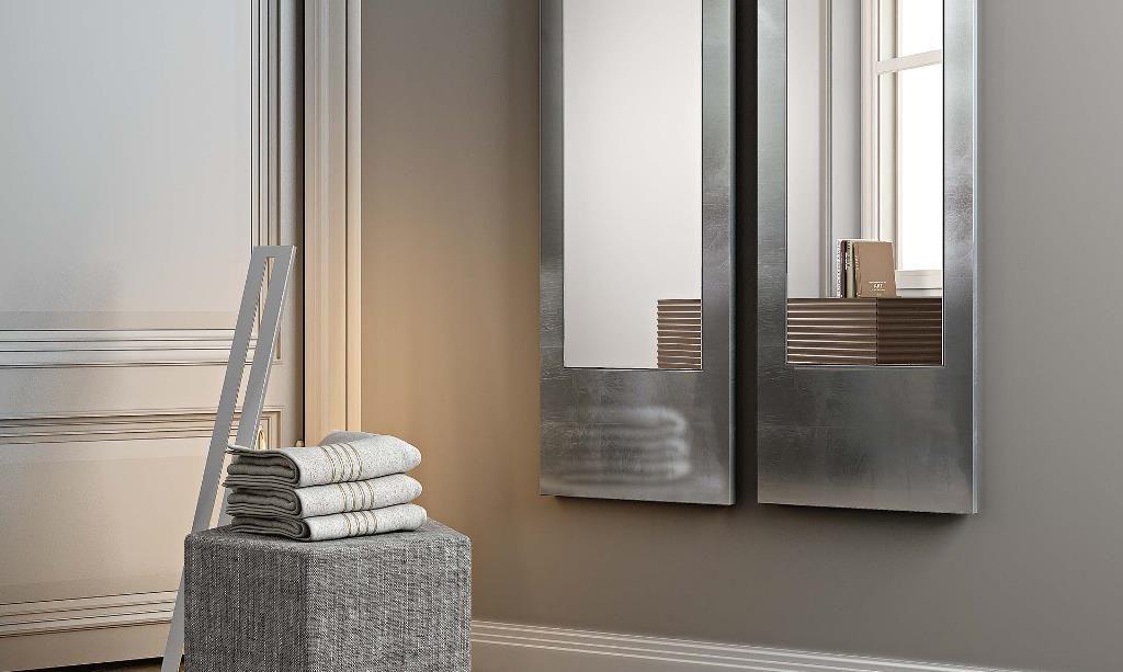 specchio Alisei Riflessi con cornice in foglia argento, oro, bronzo, rame.