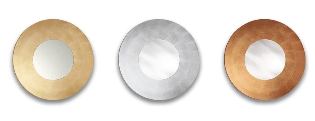 specchio giove riflessi con cornice in foglia oro argento rame.