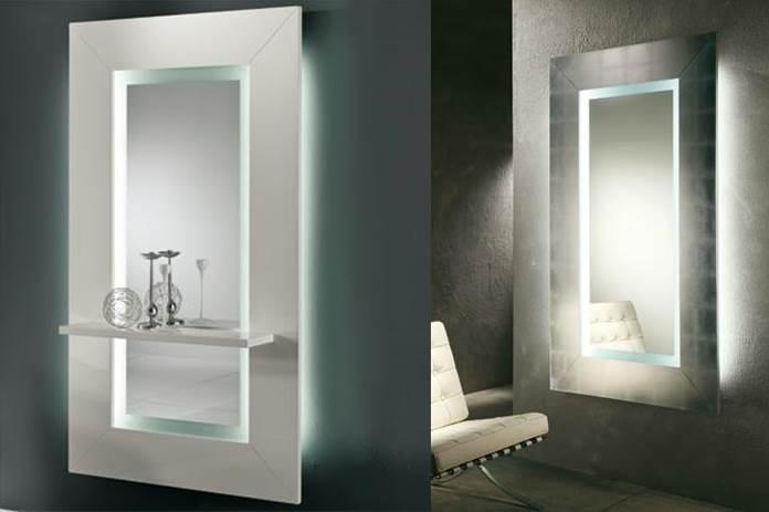Specchio Sibilla Riflessi con mensola e luce led.