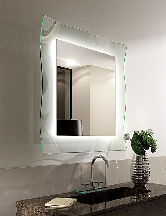 Specchio retro illuminato LED Ginevra Riflessi