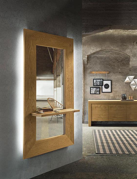 specchio rettangolare da muro Sibilla Twood Riflessi