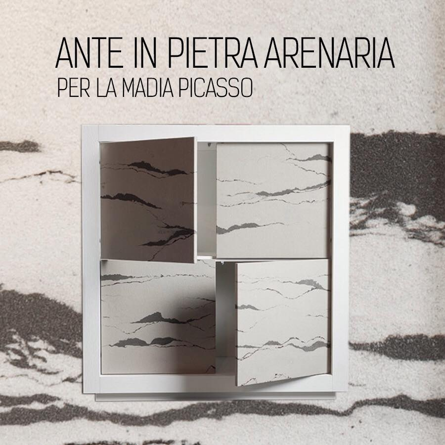 Riflessi Madia Picasso anta in pietra arenaria nell'immagine dimensioni: larghezza cm 129 altezza cm 129 profondità cm 50