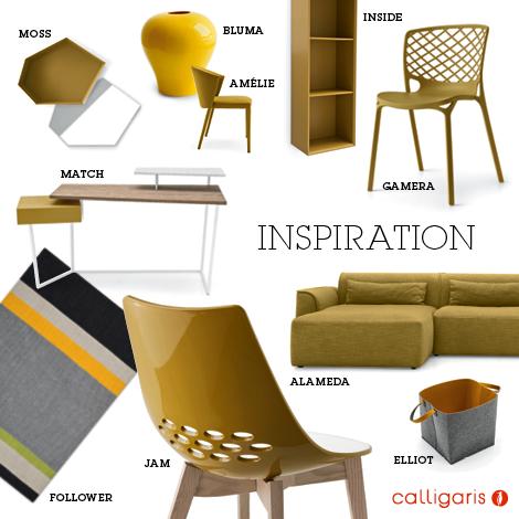 Calligaris tavoli e sedie giallo