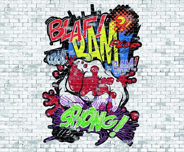 Carta da parati graffiti murales colori e fantasia idee for Stoffa da parati