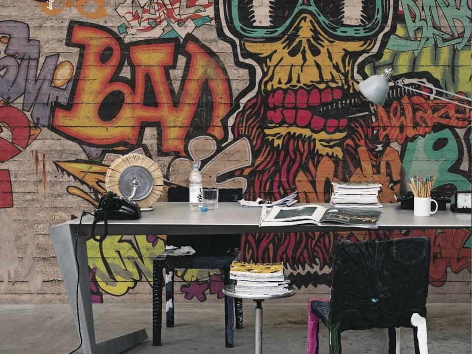 Carta Da Parati Per Camere Ragazzi : Carta da parati graffiti murales colori e fantasia idee per camerette