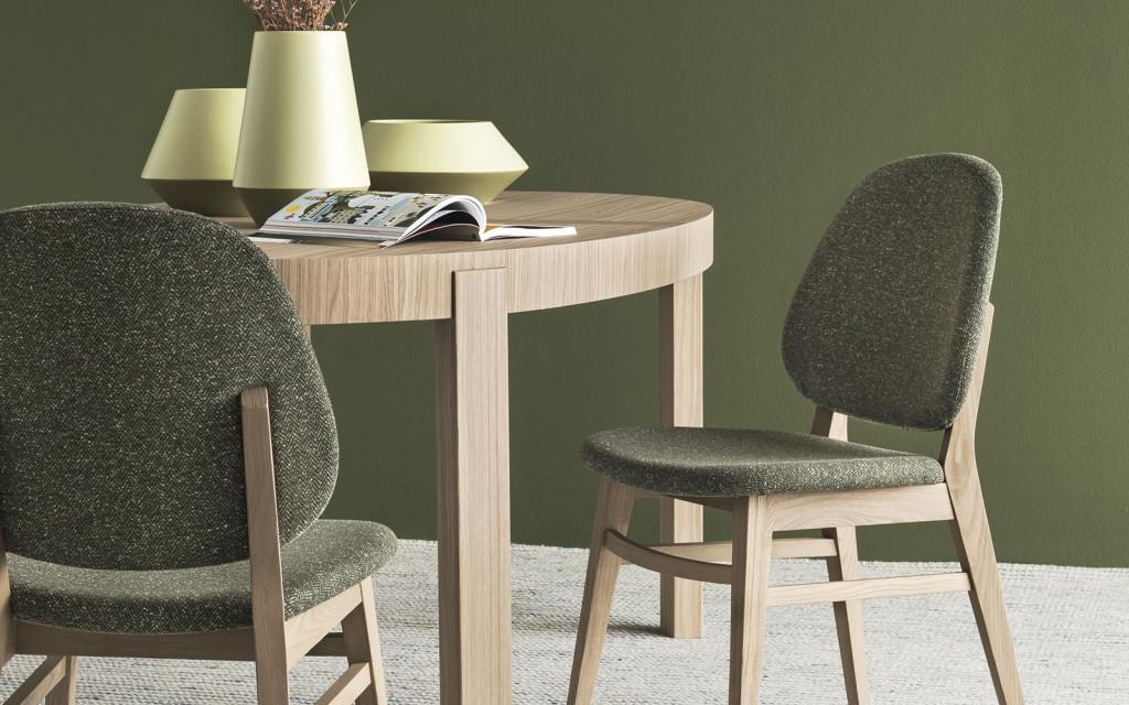 sedia colette calligaris in legno e rivestita tessuto tweed