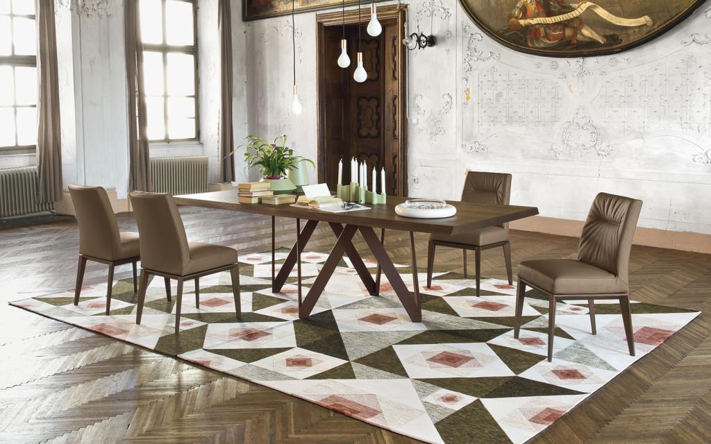 sedia Tosca calligaris con struttura legno massello e pelle