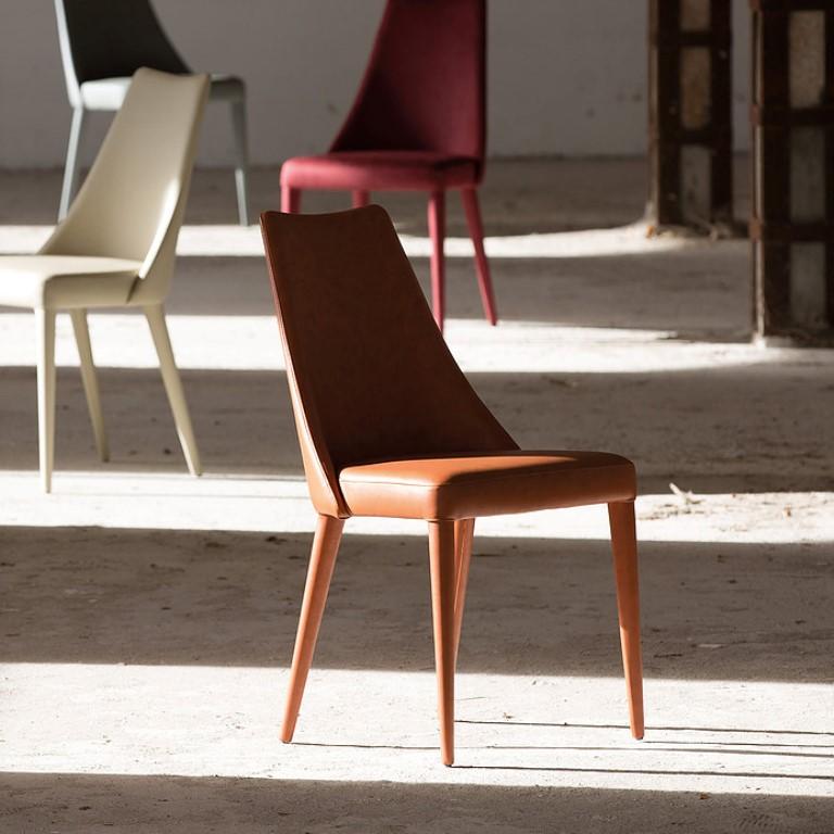 Sedia pelle ecopelle econabuk o cuoio da soggiorno for Pelle per rivestimento sedie