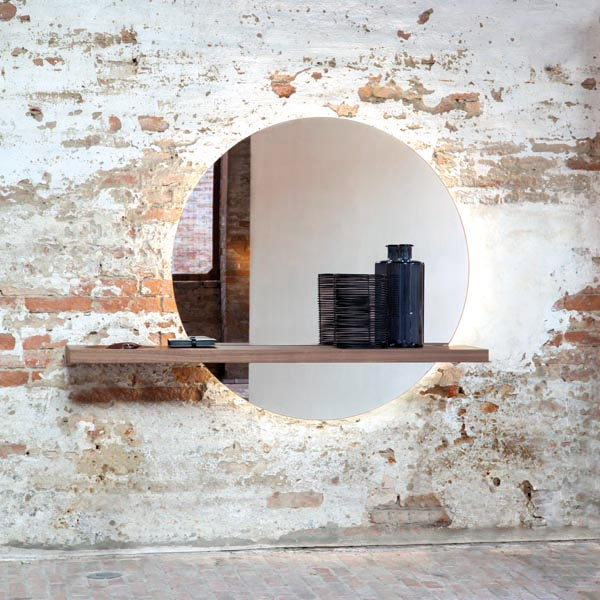 Specchiera e consolle Sunset Tonin Casa con mensola e svuotatasche in legno