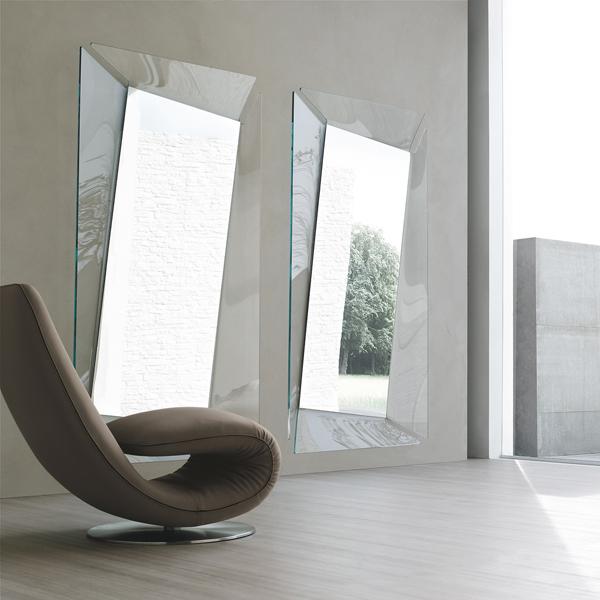 specchio moderno Callas Tonin Casa con vetro curvato quadrato o rettangolare