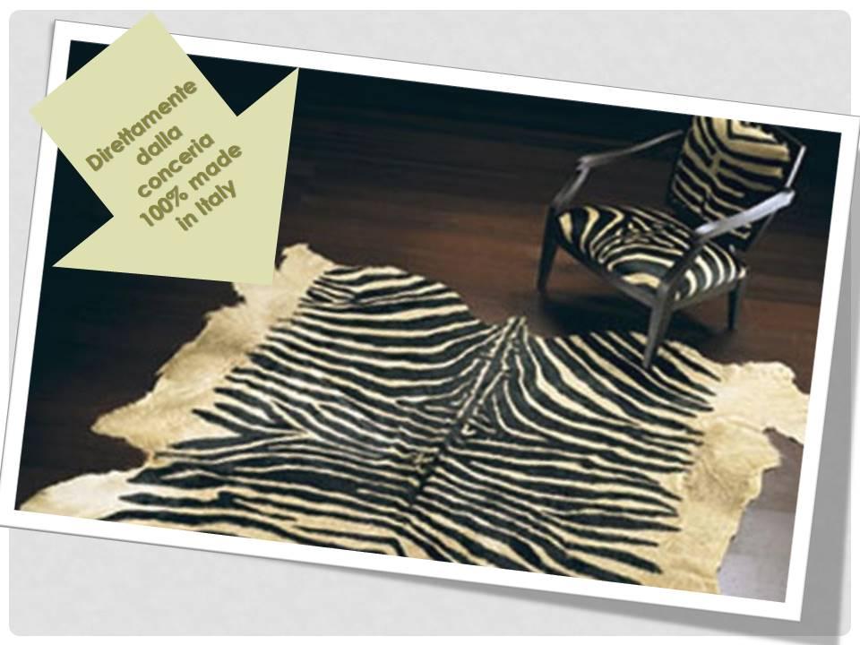 tappeto zebra vera pelle italiana