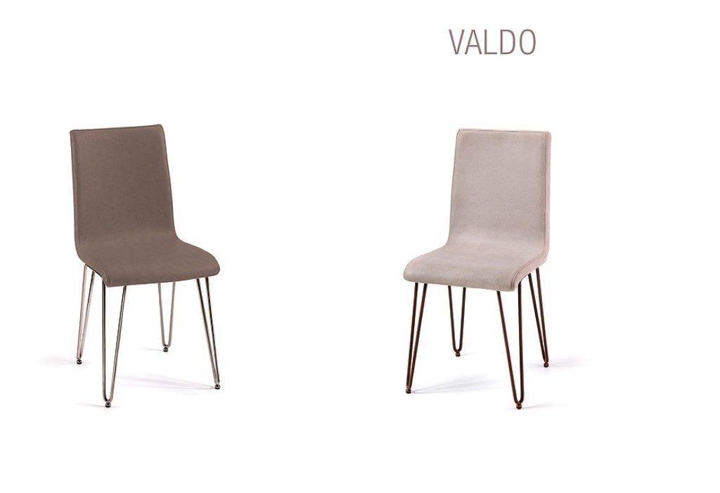 Sedia Valdo con schienale e seduta rivestiti in pelle. ecopelle. econabuk oppure cuoio.