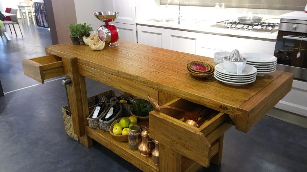 Tavolo da falegname con cassetto in vero legno di castagno - Banco da lavoro cucina ...