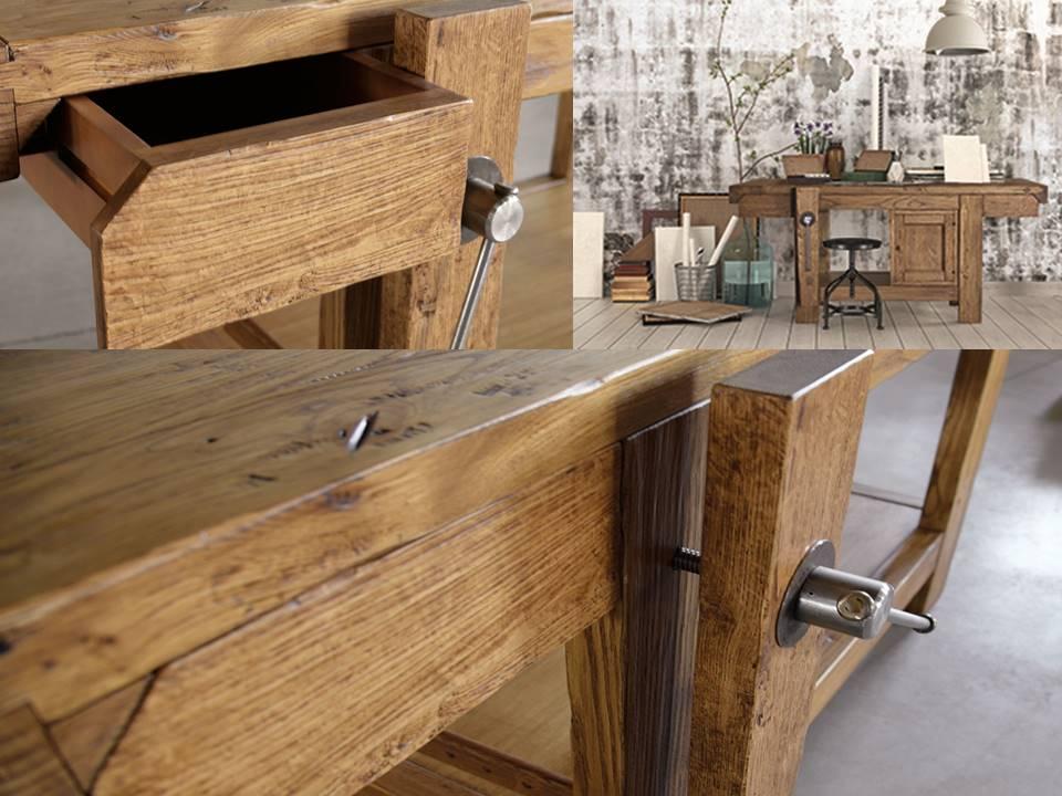 Tavolo da falegname con cassetto in vero legno di castagno - Tavolo da falegname ...