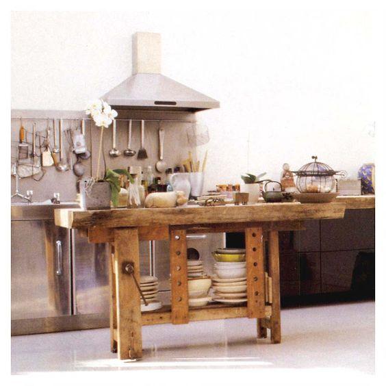 Tavolo da falegname con cassetto in vero legno di castagno - Tavolo lavoro cucina ...