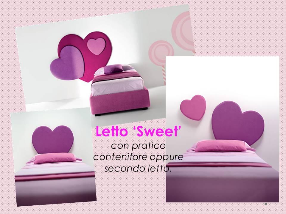 letto Sweet con testata a forma di cuore per bambina