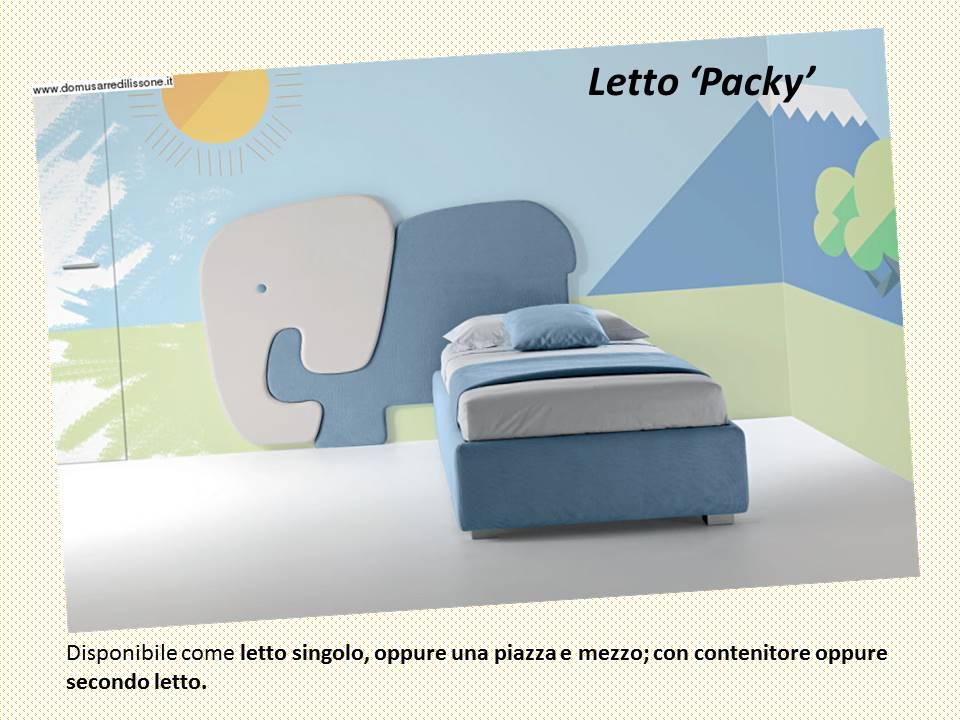 letto Packy con elefantino per la cameretta con contenitore oppure secondo letto, In tessuto o ecopelle.