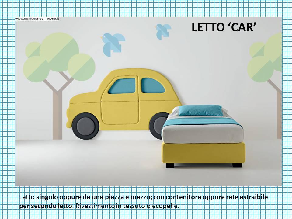 letto Car con testiera a forma di macchinina. contenitore oppure con secondo letto,. Rivestimento in tessuto o ecopelle.