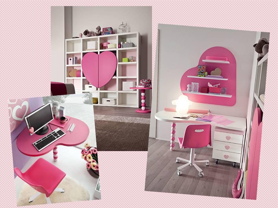 libreria e scrivania per cameretta Cuore rosa da principessa