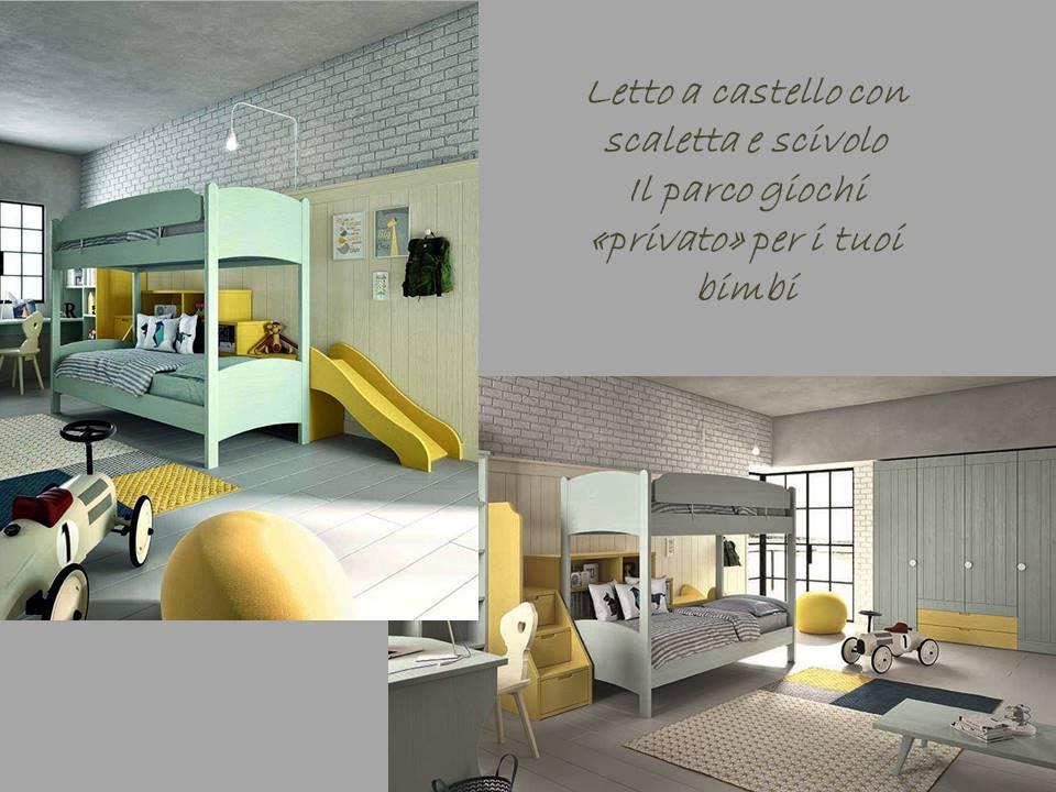 Cameretta classica legno massello di abete prodotte in italia - Scaletta per letto a castello ...