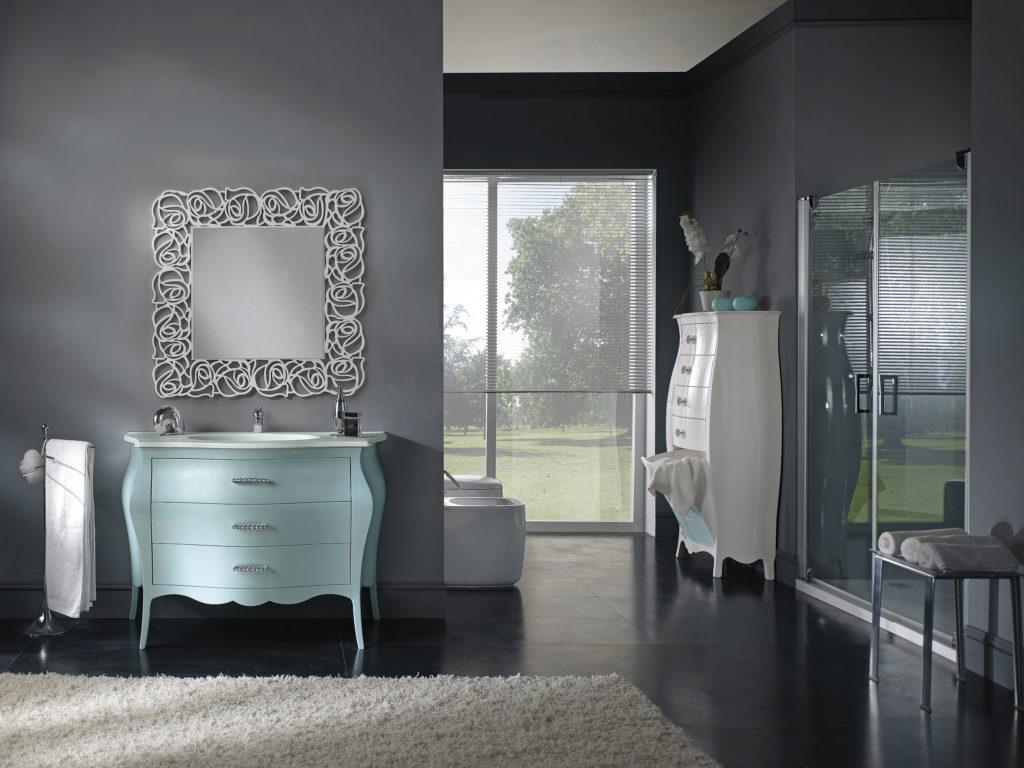 laccatura lucida verde Tiffany per questa composizione da bagno