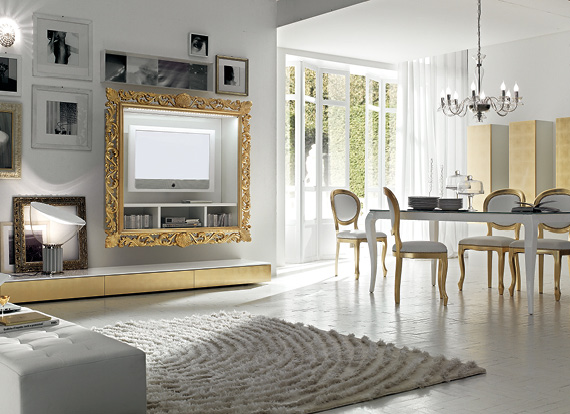 Foglia Argento e Oro per soggiorni, porta tv, credenze