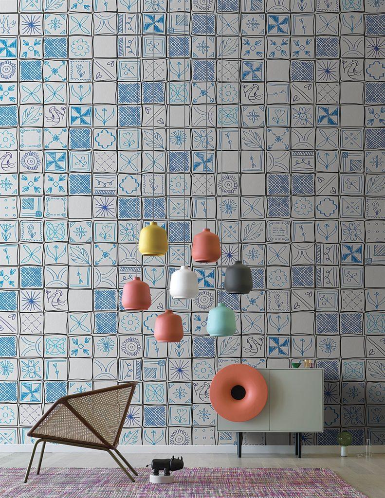 Tappezzeria simboli azzurri