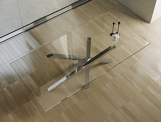 tavolo shangai vetro struttura inox specchiante