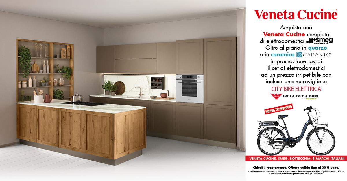 Promo Veneta Cucine – SMEG!! piani in quarzo e una  CITY BIKE ELETTRICA compresa nel prezzo
