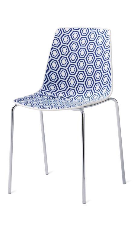 sedia bianca e blu da cucina produzione veneta cucine